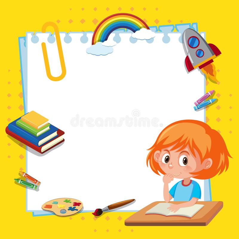 Frame template design with girl reading book. Illustration royalty free illustration