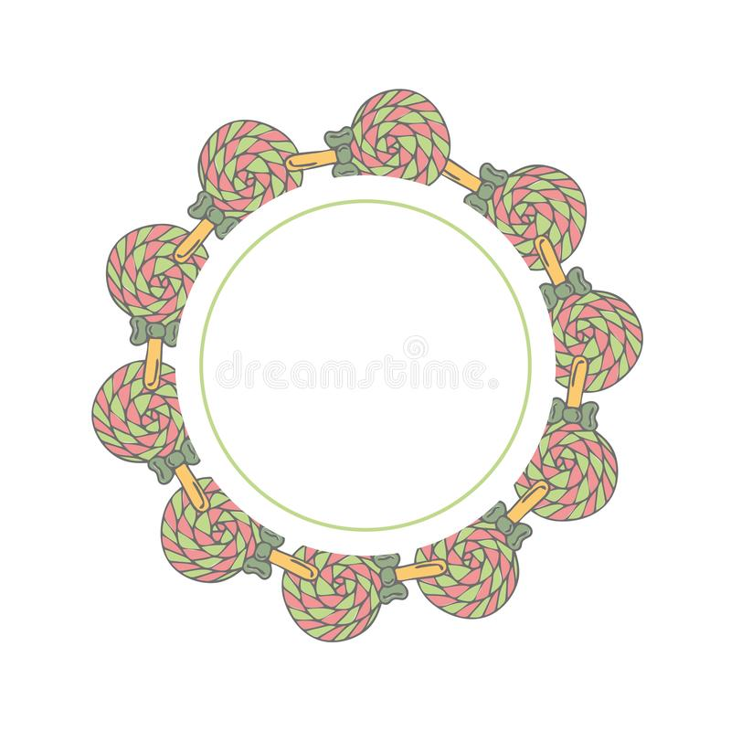 Frame template with doodle candies vector illustration