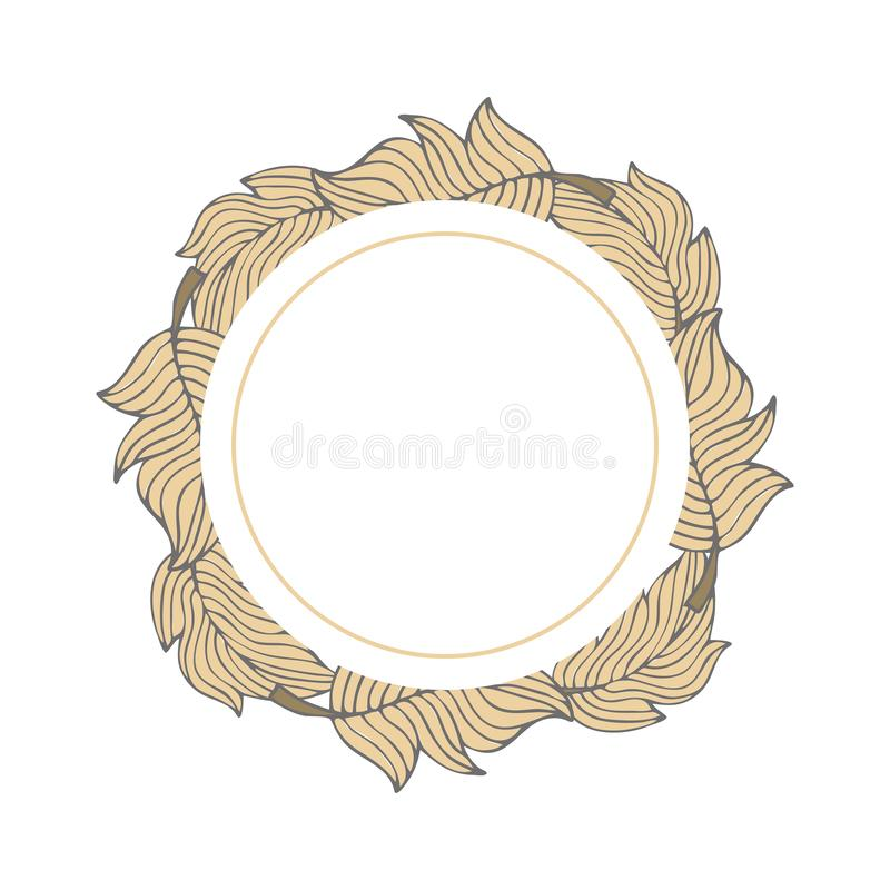 Frame template with doodle feathers royalty free illustration
