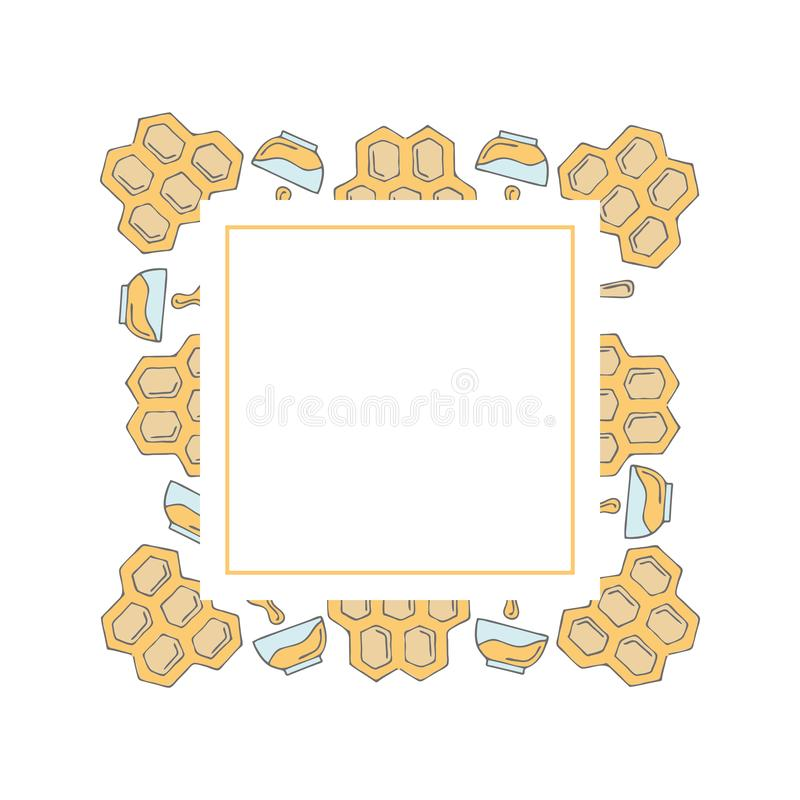 Frame template with doodle honeycombs and bowls royalty free illustration