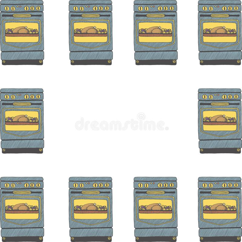 Frame template with doodle ovens vector illustration