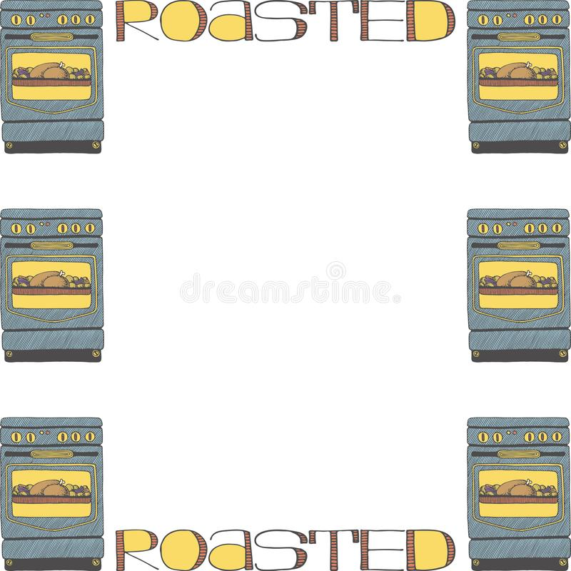 Frame template with doodle ovens and lettering stock illustration