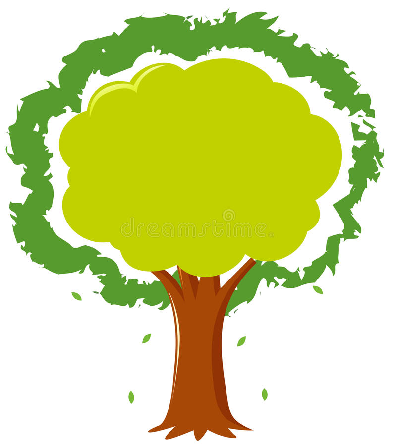 Frame template with green tree vector illustration