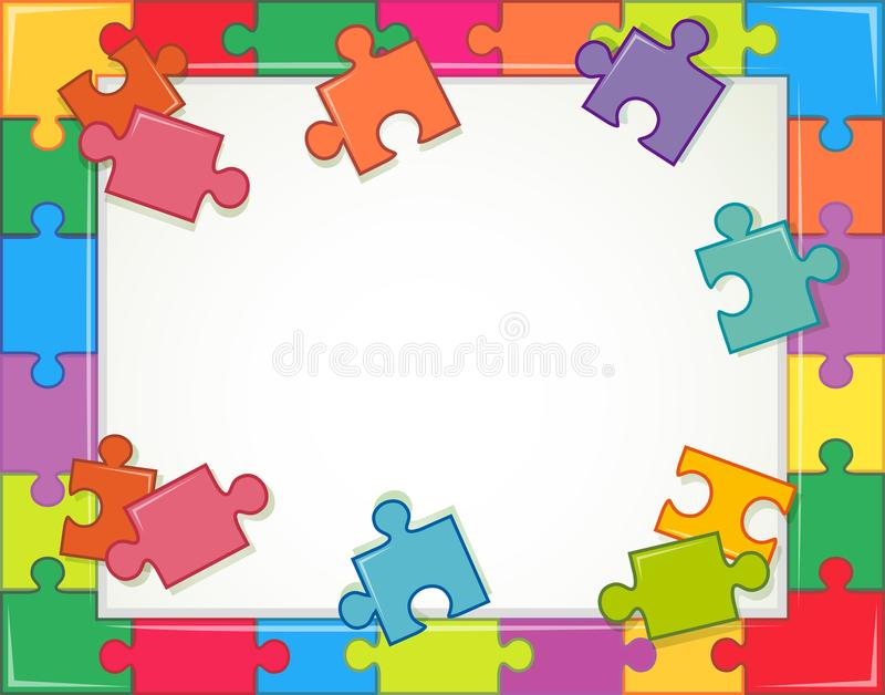 Frame template with jigsaw puzzle pieces stock illustration