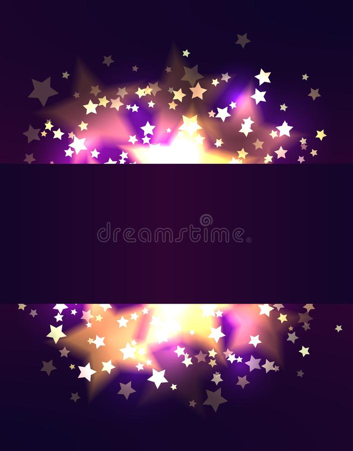 Frame template with luxurious gold stars and bokeh on violet background. Vector festive pattern. For greeting card, banner and your creativity royalty free illustration