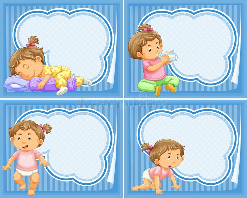Frame template with toddler girl. Illustration royalty free illustration