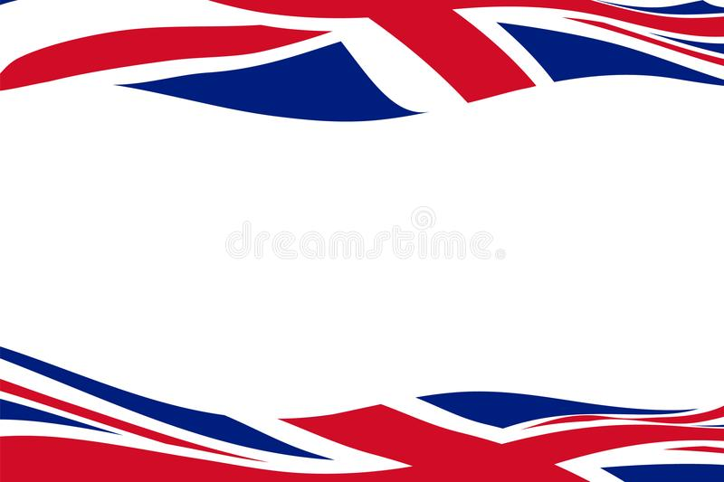Frame template with waving United Kingdom flags royalty free illustration