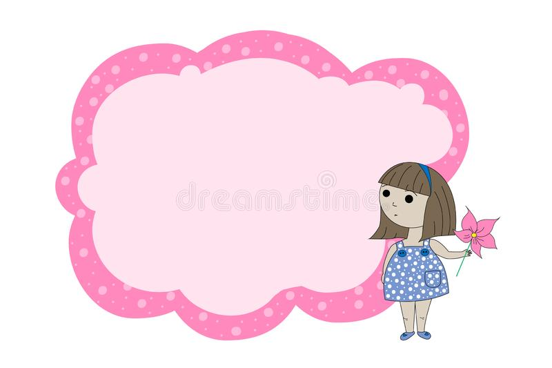 Frame for text with a cartoon girl. Children`s frame for text. Banner for children`s clothing store. Banner template for kids. stock illustration
