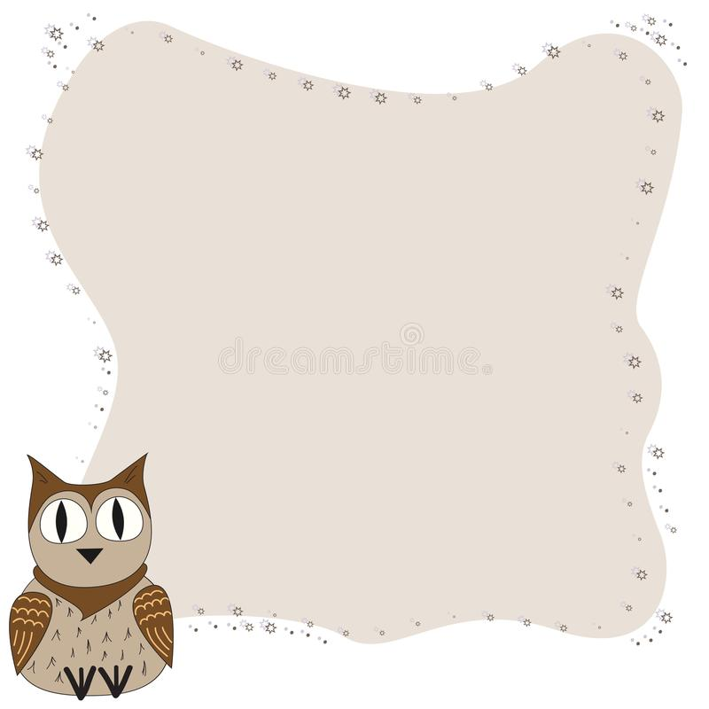 Frame for text with a cartoon owl. Illustration of a cartoon owl with frame for text. Children`s frame. royalty free illustration
