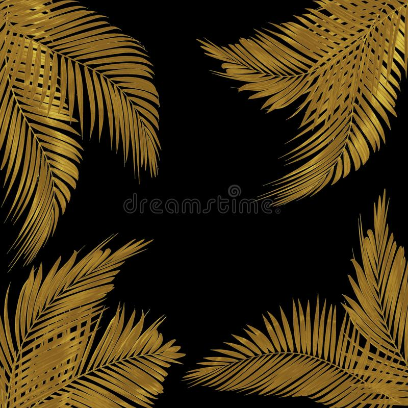frame for text made from green palm leaf on white background stock illustration