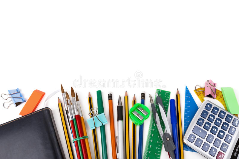 Frame for text of office supplies. On a white background horizontal. royalty free stock photos