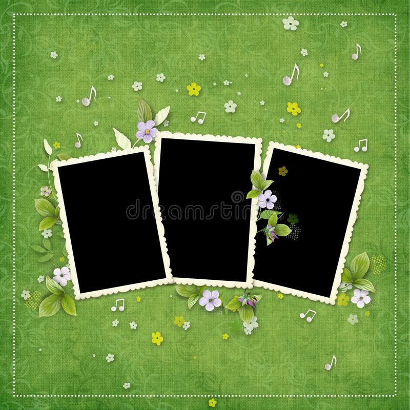 Frame for three photos with artificial flowers stock image