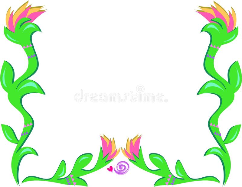 Download Frame Of Torch Flowers And Spiral Heart Stock Vector - Image: 11729625