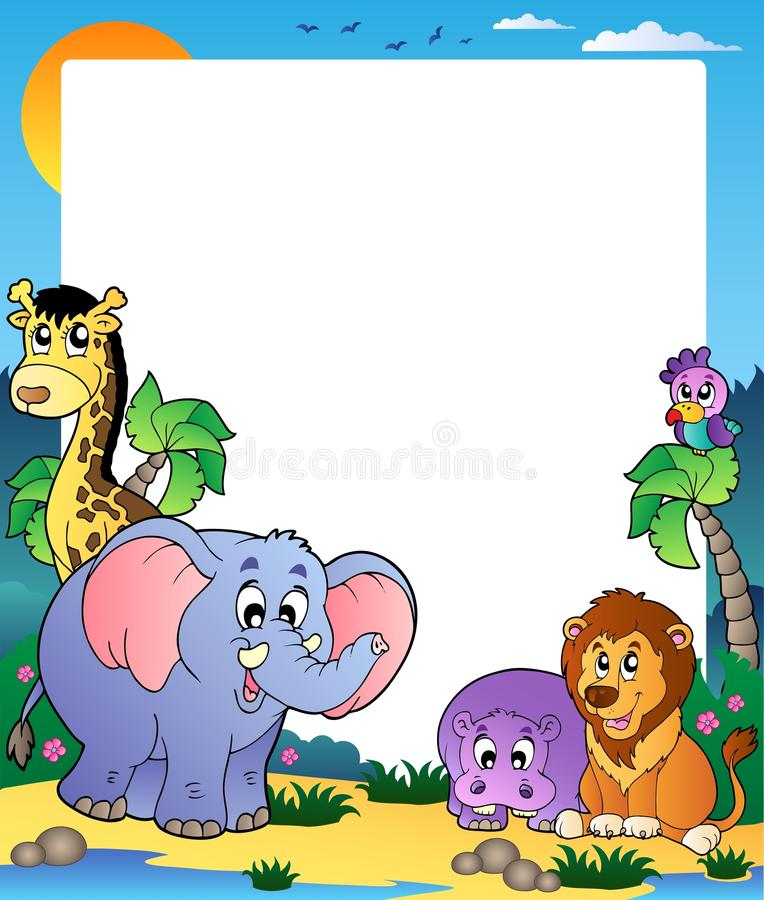 Frame with tropical animals 1. Illustration stock illustration