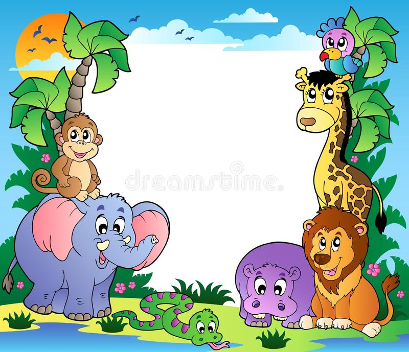 Frame with tropical animals 2. Illustration vector illustration