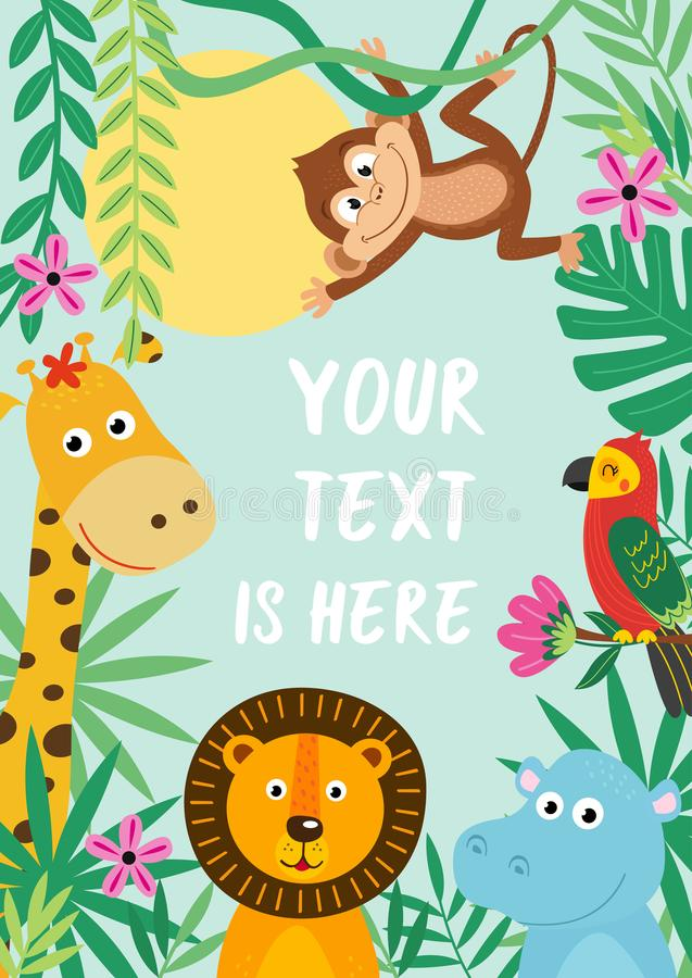 Frame with tropical animals vector illustration