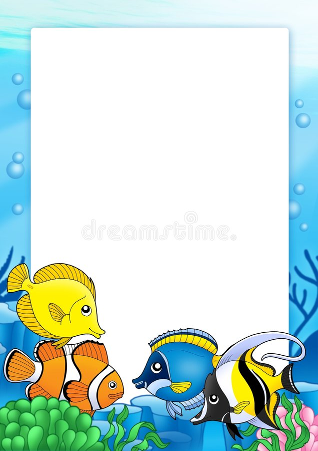 Frame with tropical fishes 1 royalty free illustration