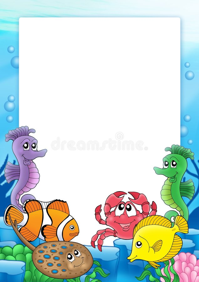 Frame with tropical fishes 2 vector illustration