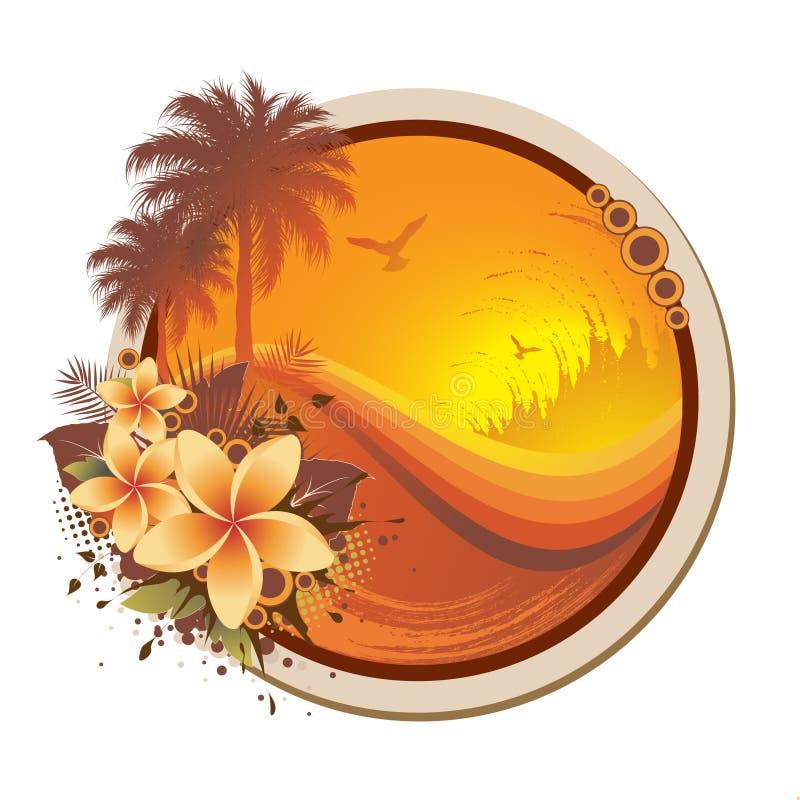 Frame tropical floral ilustração do vetor