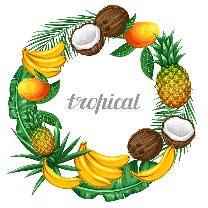 Frame with tropical fruits and leaves. Design for advertising booklets, labels, packaging, menu.  stock illustration