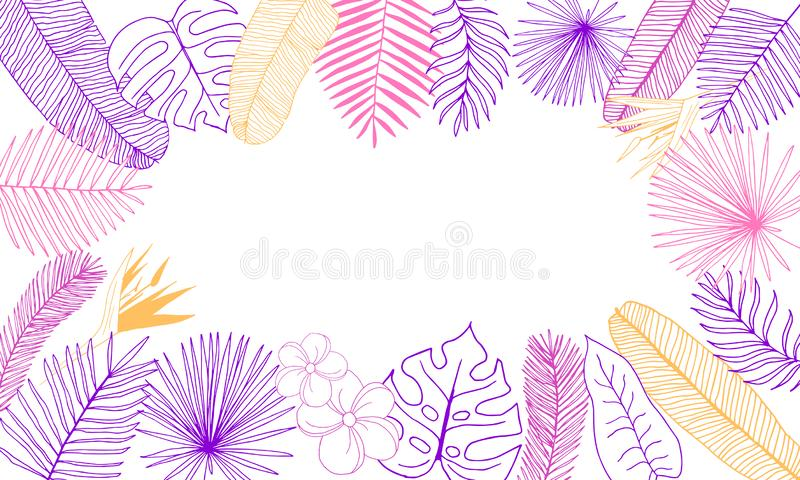 Frame of tropical leaves hand-drawn outline of purple, pink and orange foliage on white background with blank space in center royalty free illustration