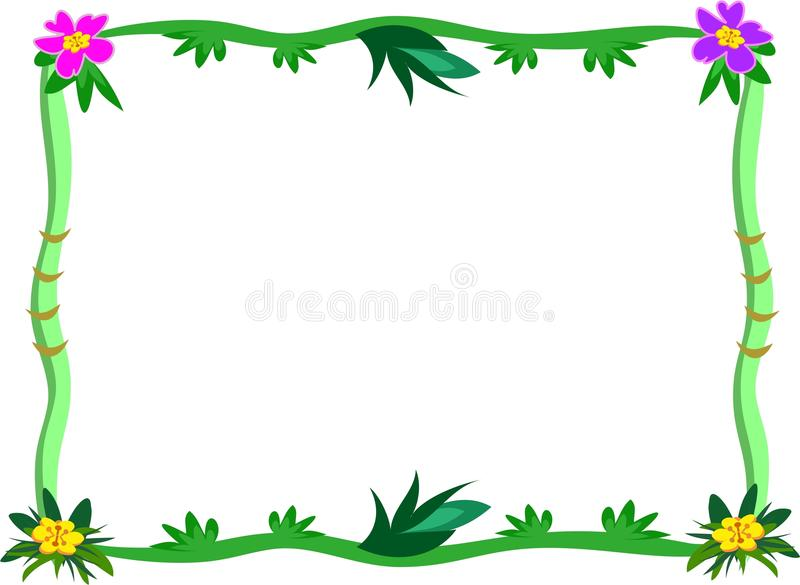 Frame of Tropical Stalks and Flowers stock illustration