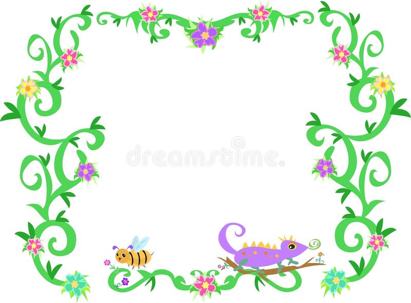 Frame of Tropical Vines, Bee, and Lizard stock illustration