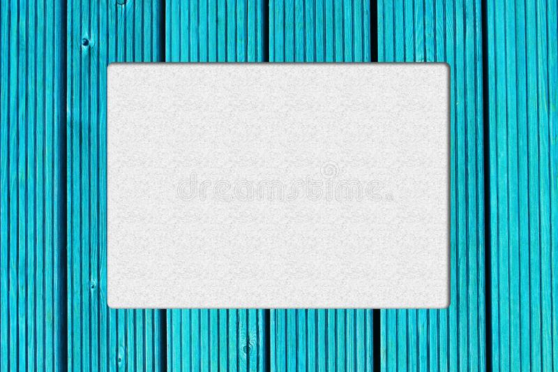 Frame with turquoise wood background. Retro frame design. Cool and fresh color. Frame with copy space for photo or text. Great frame with turquoise wood stock photo