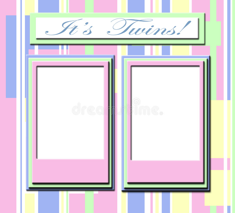 Frame for twin babies stock photography