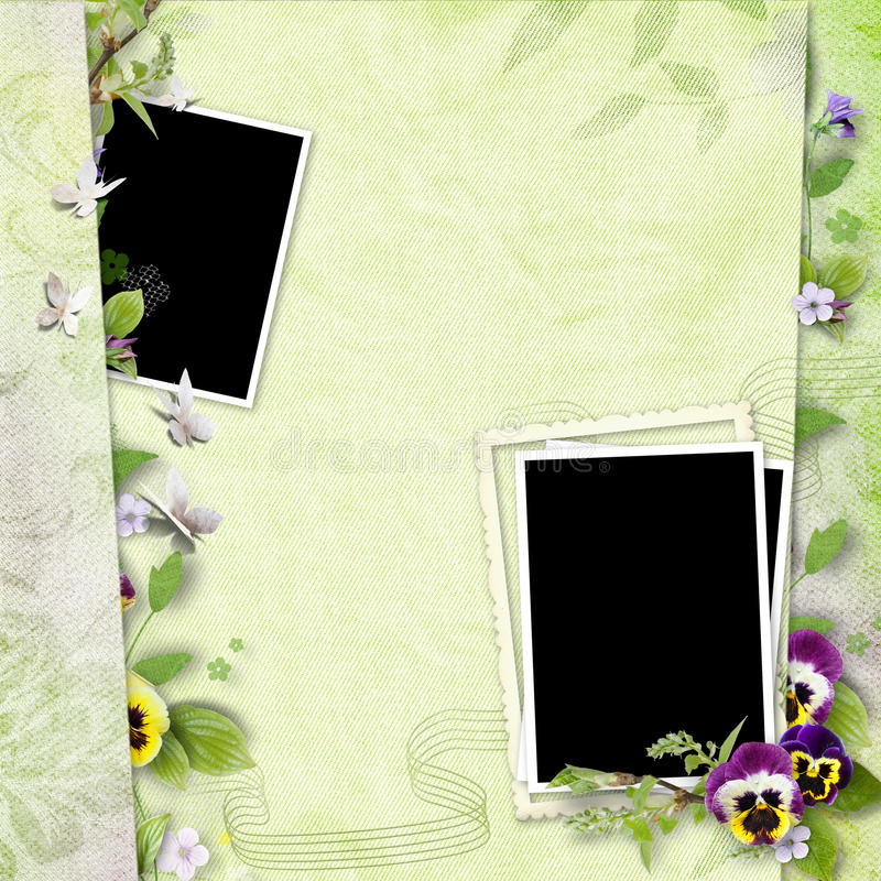 Download Frame For Two Photos With Pansy Flowers Stock Image - Image: 13362145