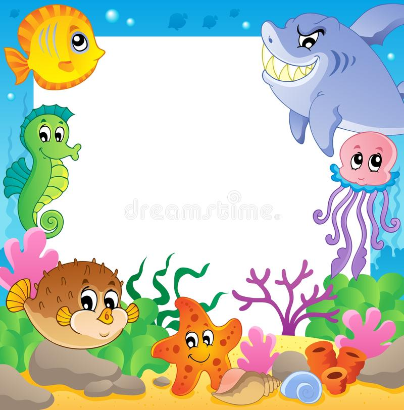 Frame with underwater animals 2 royalty free illustration