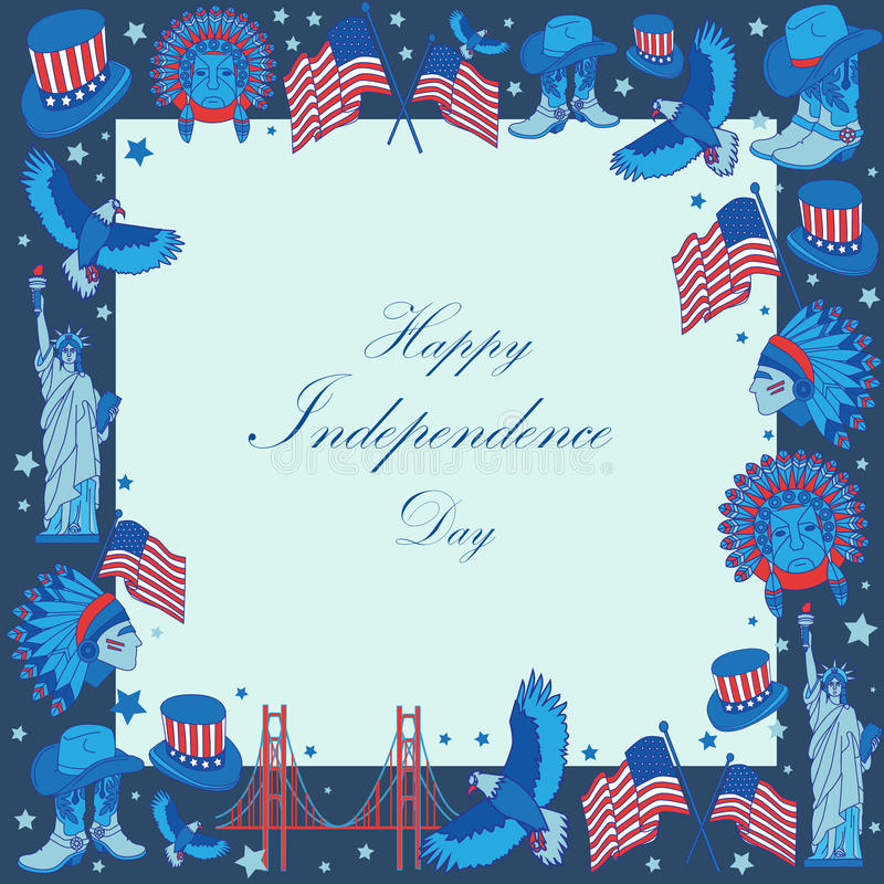Frame with USA symbols in flat style. royalty free stock photos