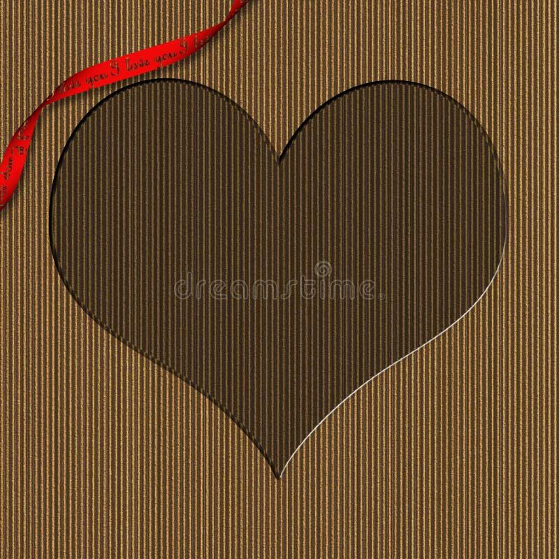 Frame van de Valentijnskaart van het karton het Hart Gestalte gegeven vector illustratie