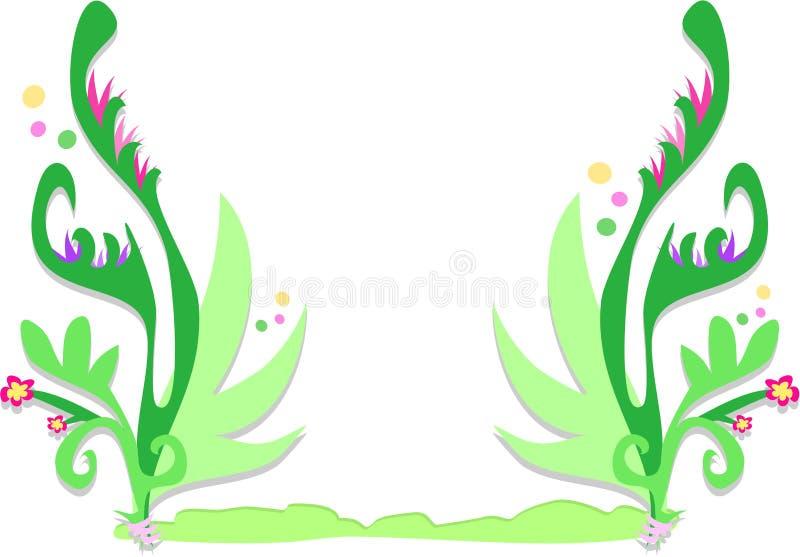 Frame van Tropische Varenbladen, Bloemen, en Bellen stock illustratie