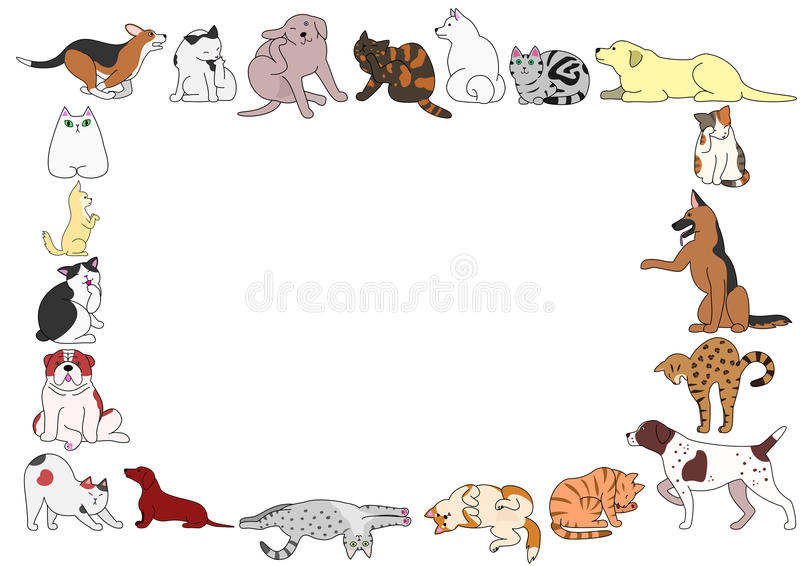 Frame of various dogs and cats postures stock illustration