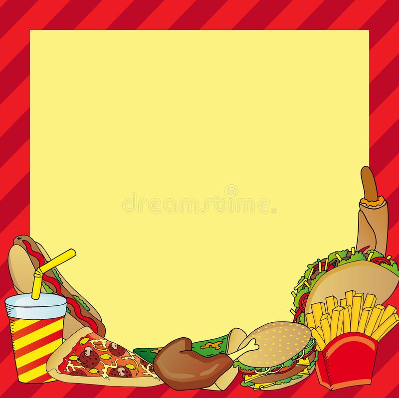 Frame with various fastfood meal. Vector illustration royalty free illustration