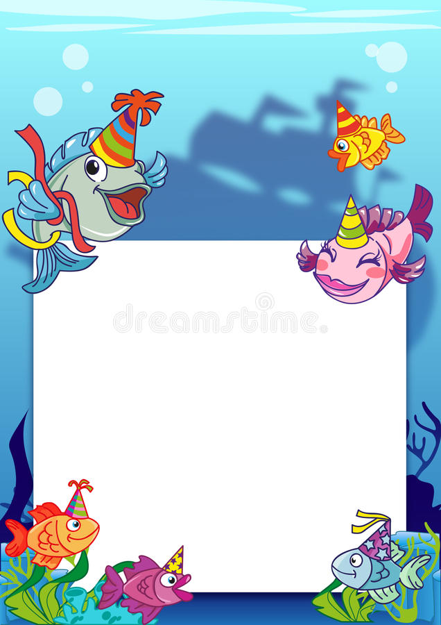 Frame with various fish royalty free illustration
