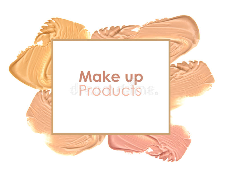 Download Frame Of Various Make Up Liquid Powder Strokes On White Background Stock Photo - Image: 83701192