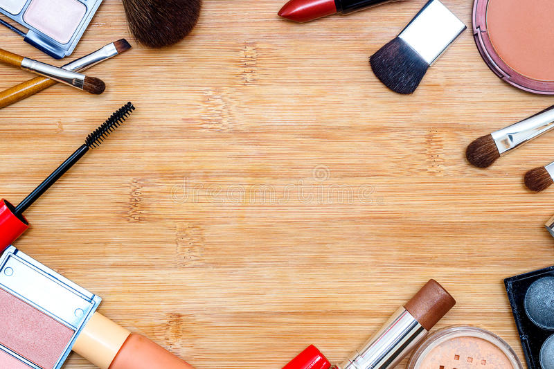 Frame with various makeup products royalty free stock photo