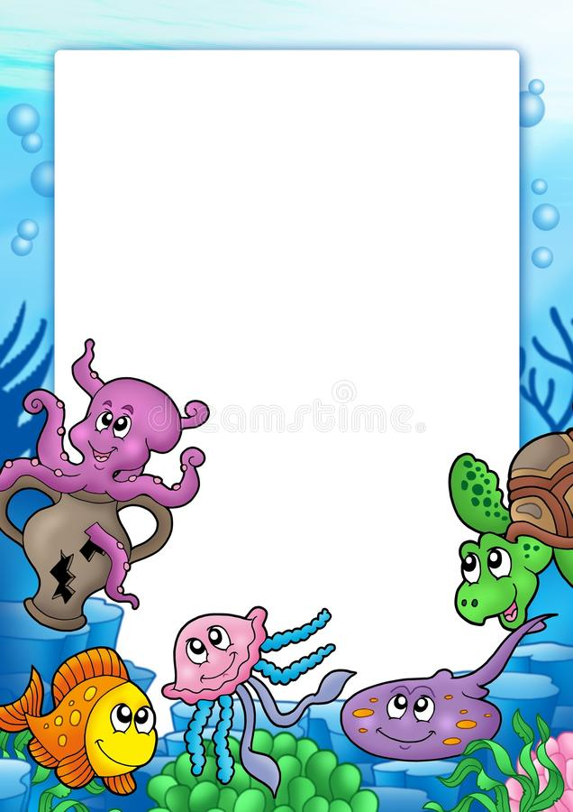 Frame With Various Marine Animals Stock Image