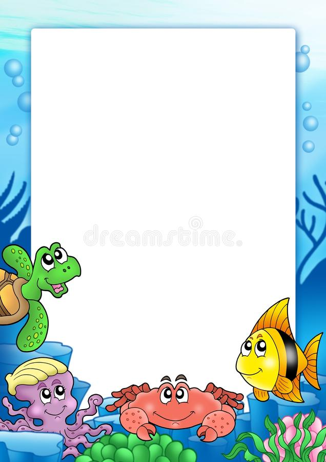Frame with various sea animals stock illustration
