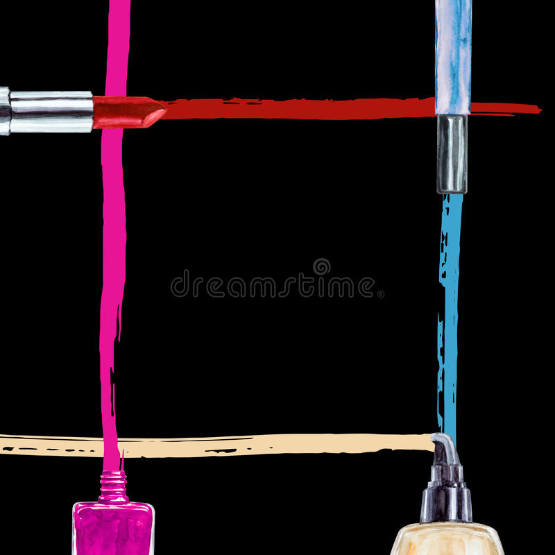 Frame of various watercolor decorative cosmetic. Makeup products stock image
