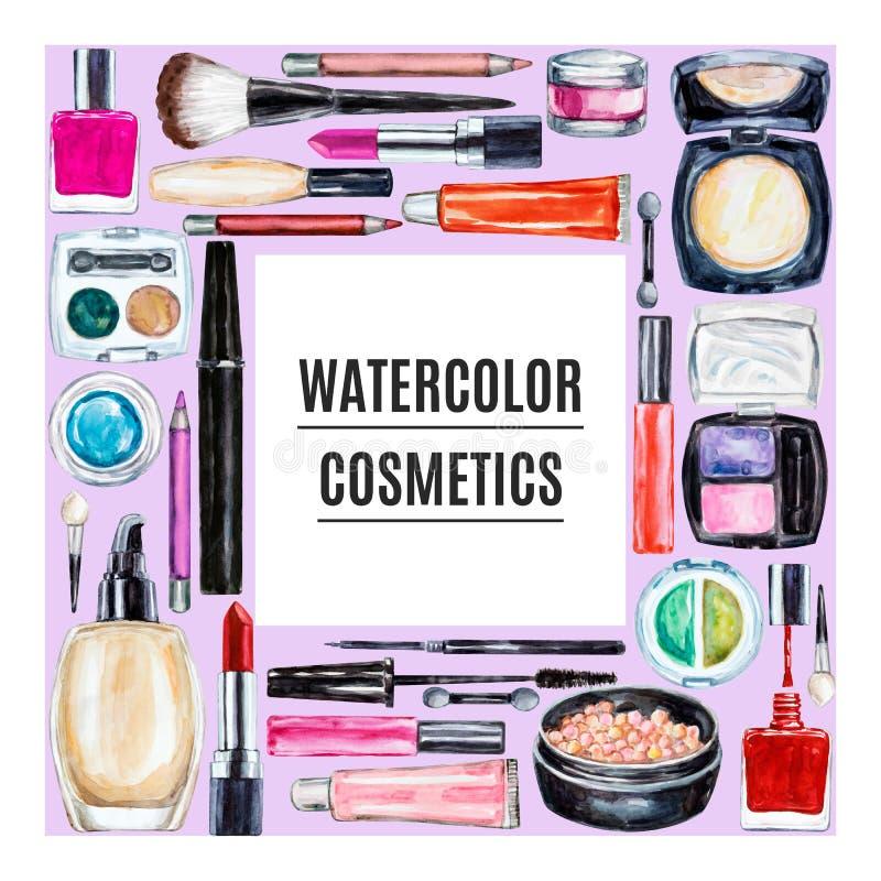Frame of various watercolor decorative cosmetic. Makeup products. Beauty items, mascara, lipstick, foundation cream, brushes, eye shadow, nail polish, powder royalty free illustration