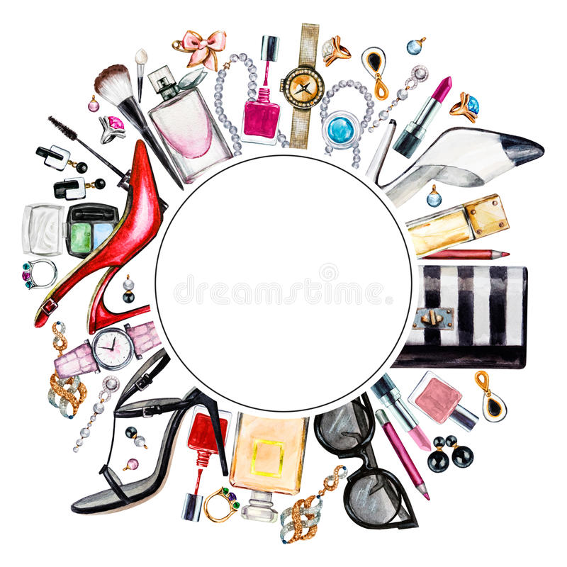 Frame of various watercolor female accessories. Makeup products stock illustration