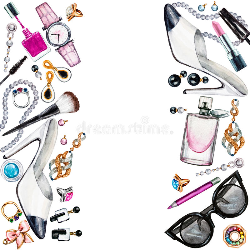 Frame of various watercolor female accessories. Makeup products vector illustration