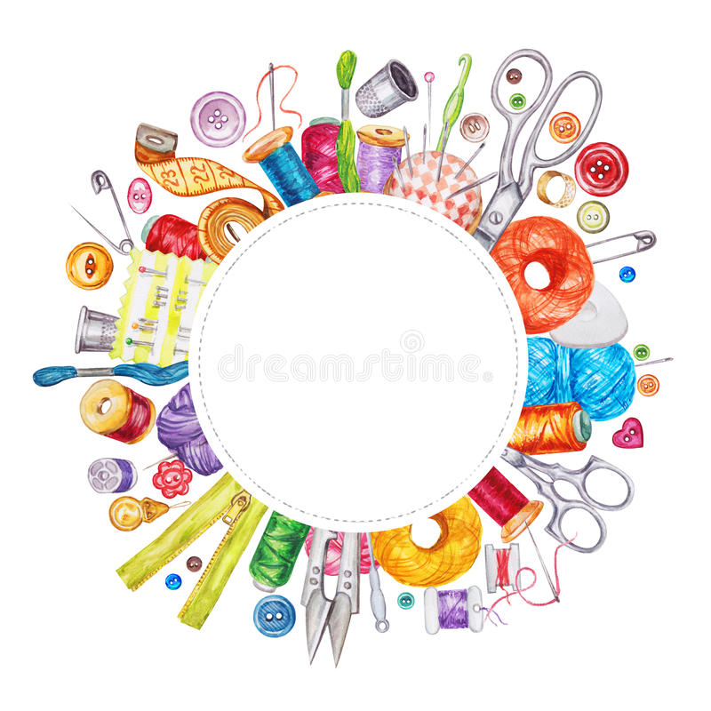 Frame of various watercolor sewing tools. Sewing kit. Accessories and equipment for sewing. Tools for needlework. Scissors, buttons, bobbins with thread and vector illustration