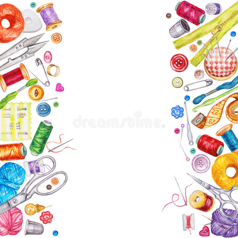 Frame of various watercolor sewing tools. Sewing kit stock illustration