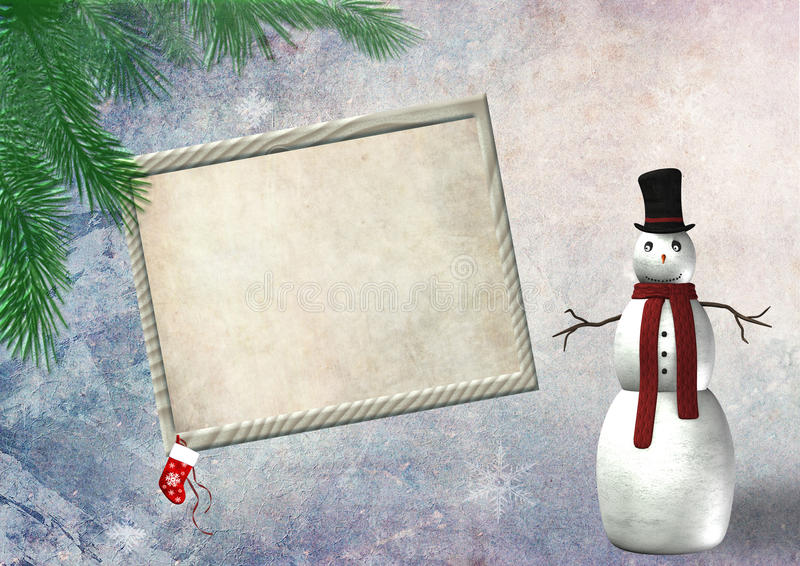 Frame vazio do Natal com um boneco de neve ilustração do vetor