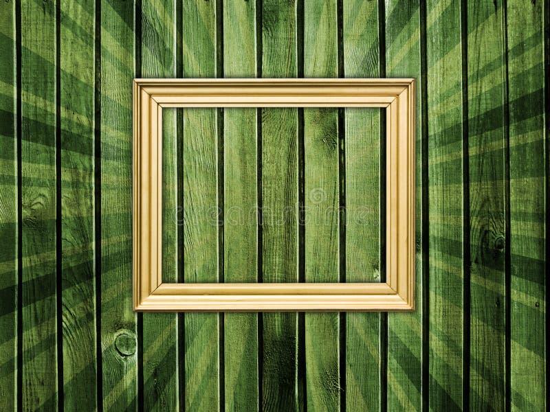 Frame vazio na parede de madeira fotografia de stock