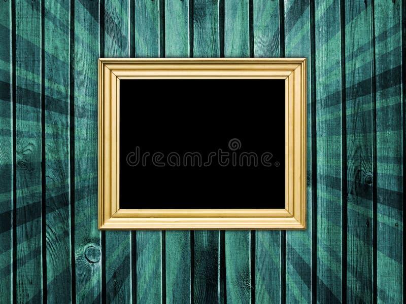 Frame vazio na parede de madeira foto de stock royalty free